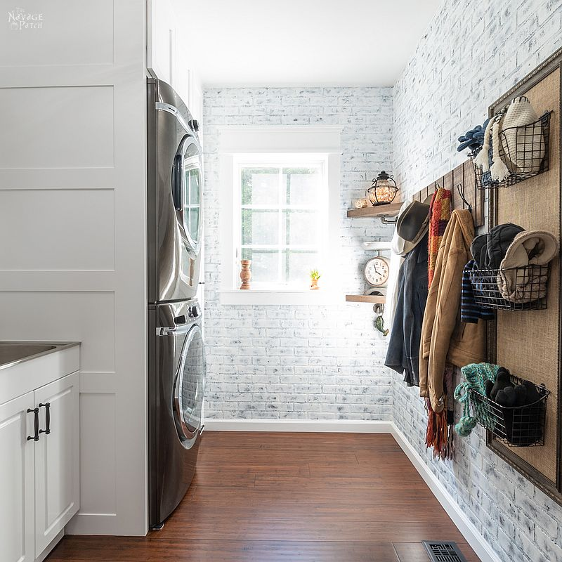 Laundry Room Makeover Reveal | Small laundry room ideas on a budget | Modern farmhouse style laundry room ideas | Small laundry room before and after | Laundry room combined with mudroom | Small space laundry room storage ideas | DIY projects list for a small laundry room makeover | Laundry Room cabinets with Dog Feeding Station | How to organize a laundry room | Free Laundry room printables | #TheNavagePatch #diy #Laundry #organization #beforeafter #HowTo #remodel #diyfurniture #makeover | TheNavagePatch.com