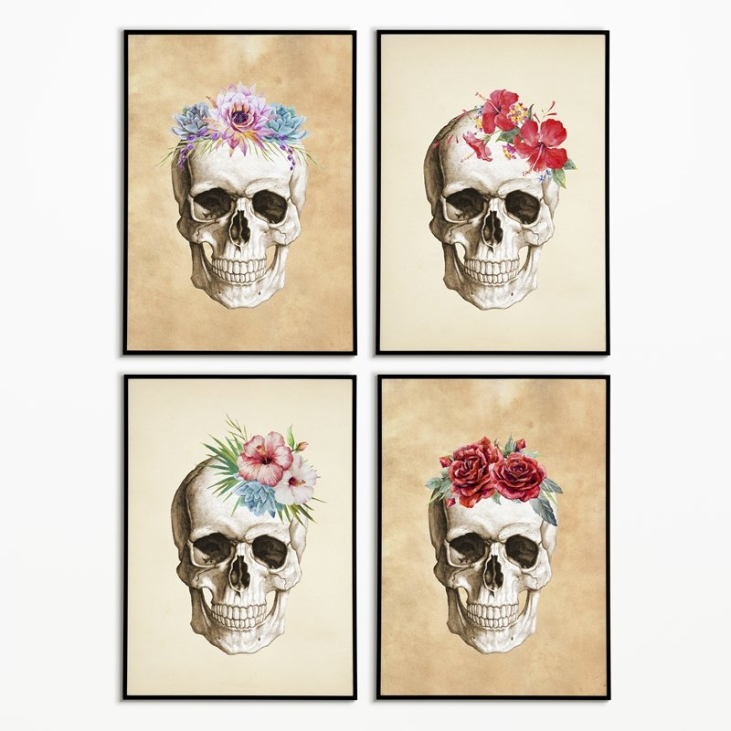 Free Halloween Printables Extravaganza | Flower skulls free printable | Free printable golden skulls | Rock-n-Roll skulls and bones free printable | Free printable sugar skulls| How to create a chic Halloween gallery wall for free | Free printables for Halloween | #TheNavagePatch #freeprintable #Halloween #halloweendecorations #halloweencrafts #walldecor | TheNavagePatch.com