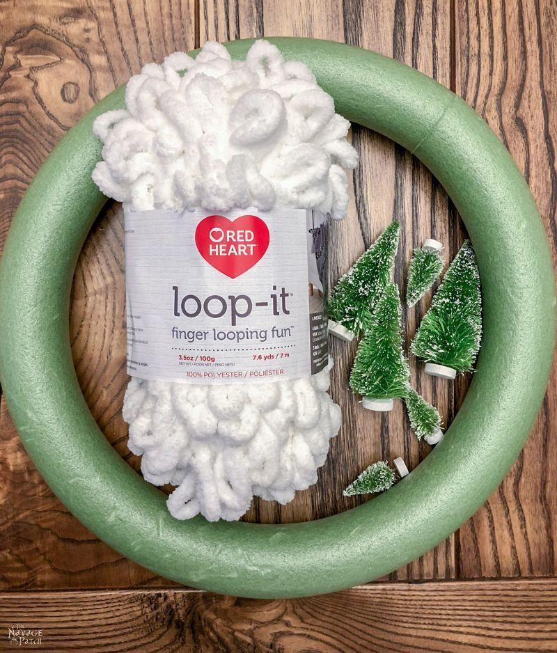 wreath form, loop yarn and bristle brush trees