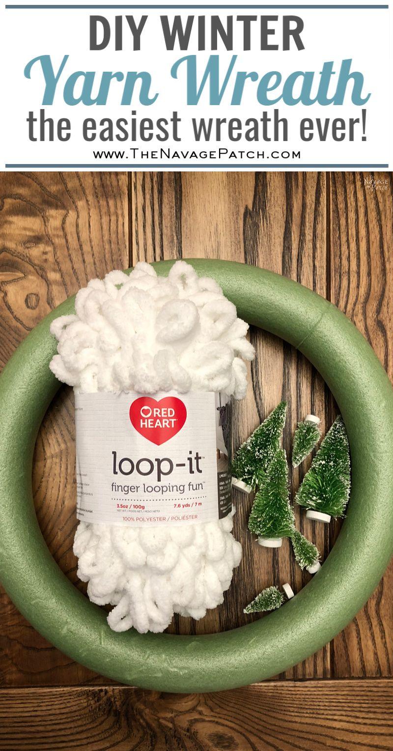 DIY Winter Loop Yarn Wreath pinterest image
