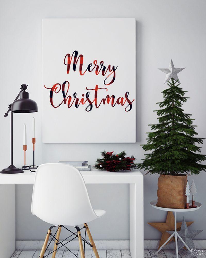 Free Printable Buffalo Plaid Christmas Decor   Free buffalo check Christmas printables   Free printable   Buffalo plaid deer   Buffalo check tree   #TheNavagePatch #FreePrintable #buffaloplaid #easydiy #buffalocheck #Typography #Christmas #Holidaydecor #DIYChristmas   TheNavagePatch.com