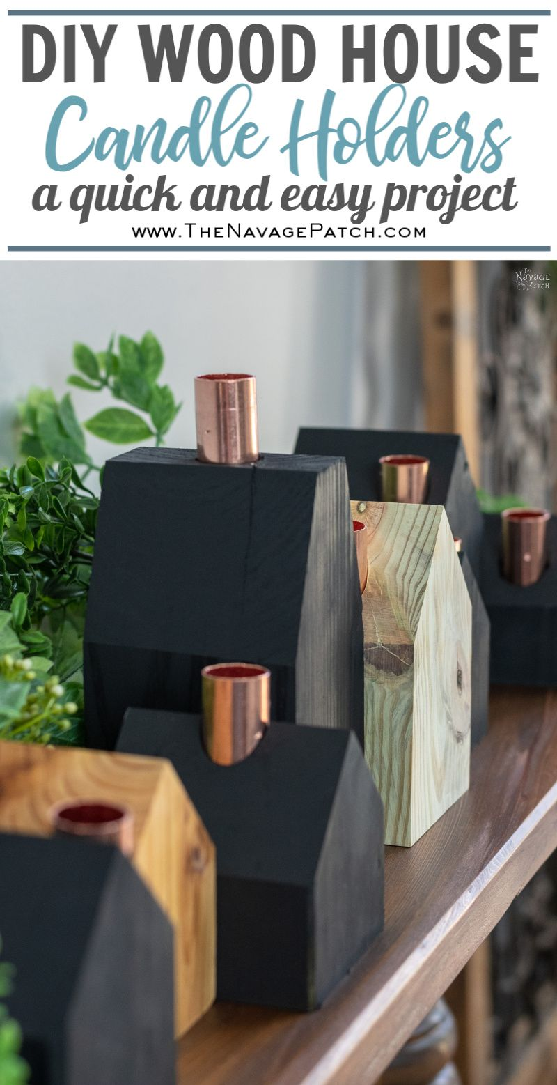 DIY Wood House Candle Holders | DIY Christmas village candle holders | Upcycled copper pipes | How to create a modern Christmas village | #TheNavagePatch #easydiy #Christmas #Upcycled #DIY #Holidaydecor #DIYChristmas #Christmascrafts # Christmasvillage #Christmaslights #DIYHomedecor #Holidays | TheNavagePatch.com