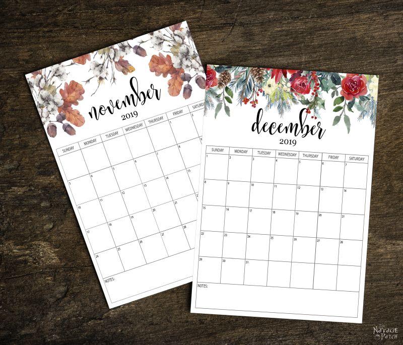 Free Printable Calendar 2019   Free printable planner   Organizational free printables   #TheNavagePatch #FreePrintable #DIY #Freecalendar #Free #Freeplanner #Organization   TheNavagePatch.com