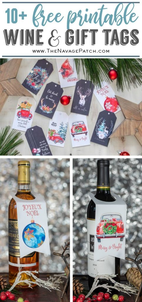 Free Printable Gift Tags and Wine Tags| Free printable watercolor wine tags | Easy gift wrapping ideas | #TheNavagePatch #easydiy #Christmas #FreePrintable #DIY #Holidaydecor #Free #DIYChristmas #Christmascrafts #DIYGifts #Gifttags #Holidays | TheNavagePatch.com