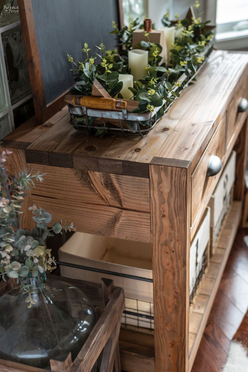 DIY Rustic Console Table | DIY Industrial Console Table | Free Console Table Plans | DIY Console table with free plans | How to build drawers the easy way | Free plans and step-by-step tutorial for industrial console table | What is the best prestain conditioner | DIY farmhouse furniture | #TheNavagePatch #DIY #FreePlans #DIYFurniture #Tutorial #Farmhouse #ConsoleTable #Industrial | TheNavagePatch.com