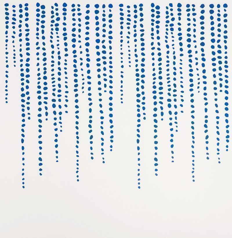 blue stenciled white wall