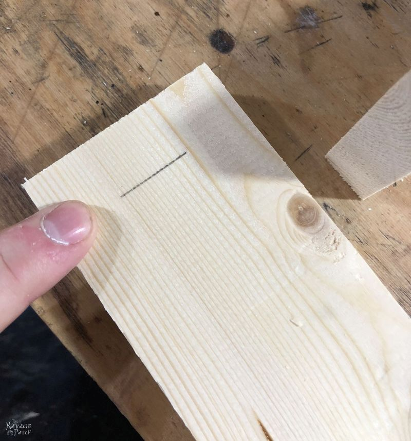 pencil mark on a piece of pine