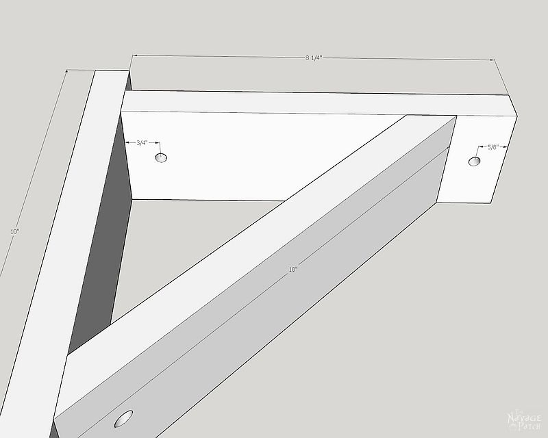 sketchup drawing and dimensions of diy corbel sconces