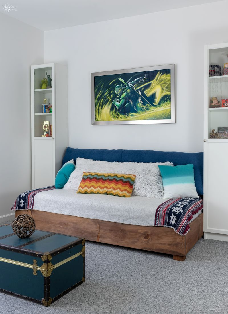 DIY daybed with Ikea Billy bookcases on either side