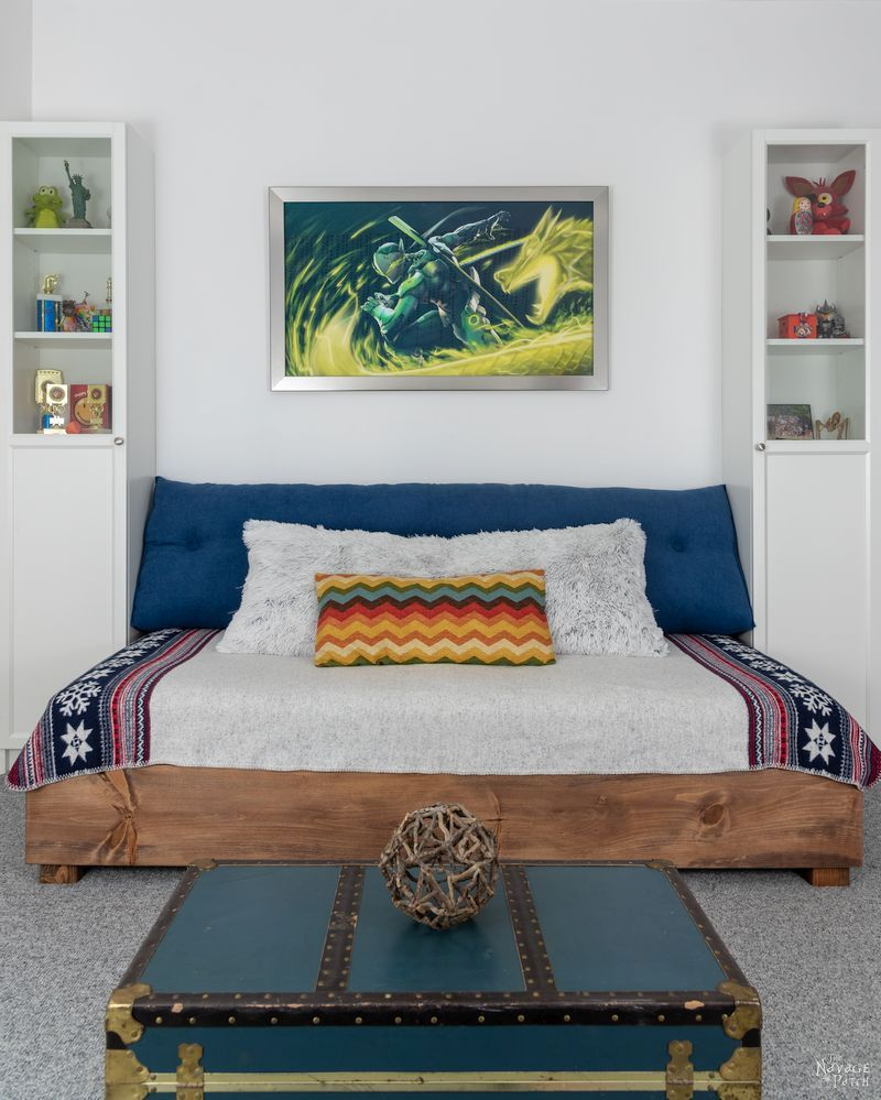 front view of diy daybed with two bookcases