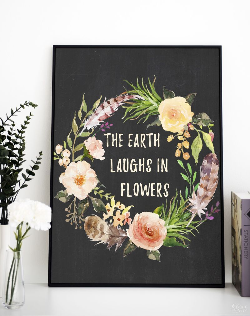 Free watercolor spring printable - the earth laughs in flowers