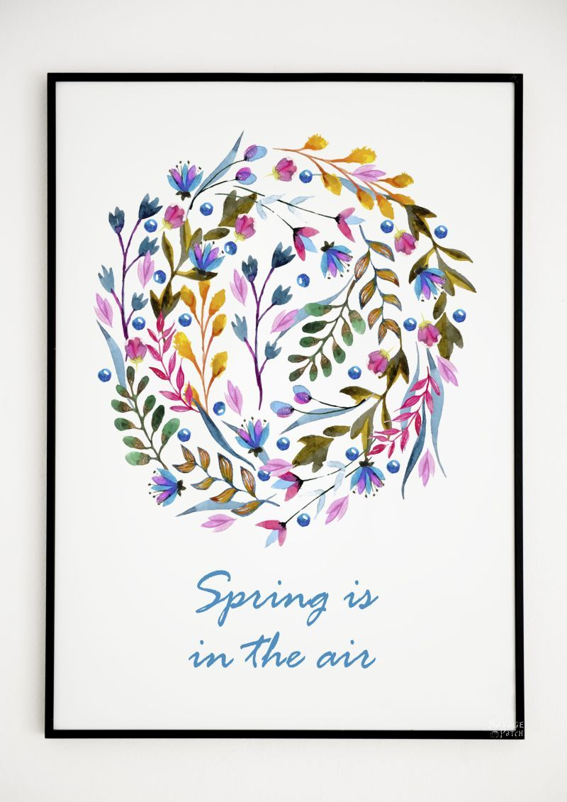 Free watercolor spring printable - spring in the air