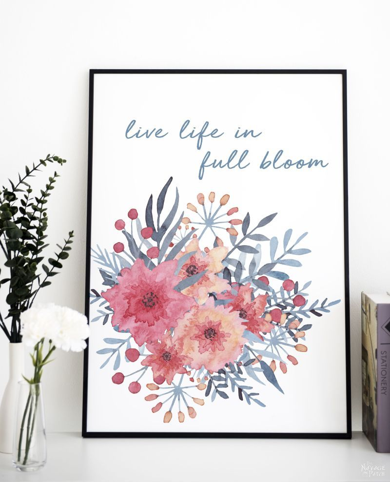 Free watercolor spring printable - live life in full bloom
