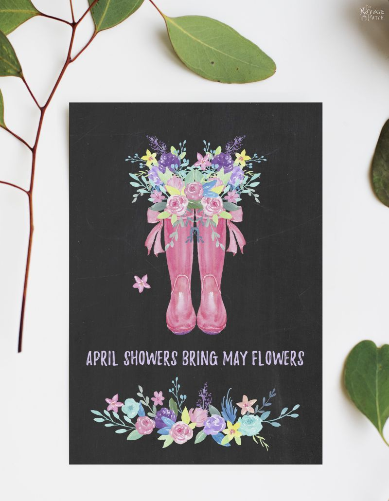 Free watercolor spring printable - april showers bring may flowers