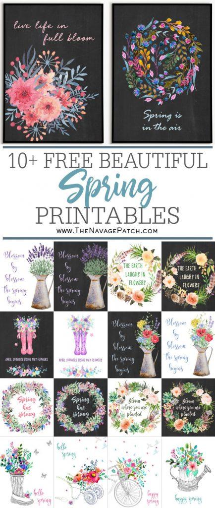 10+ Free watercolor spring printable pin image