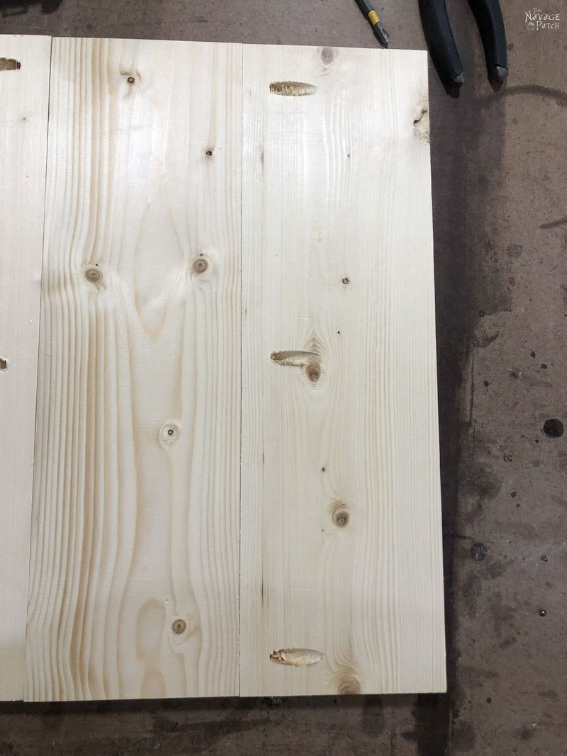 pine boards with pocket holes on a table