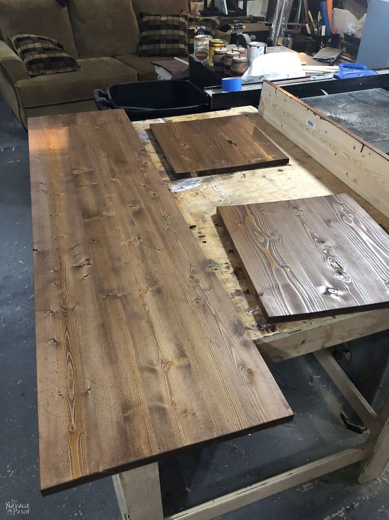 stained boards on a workbench