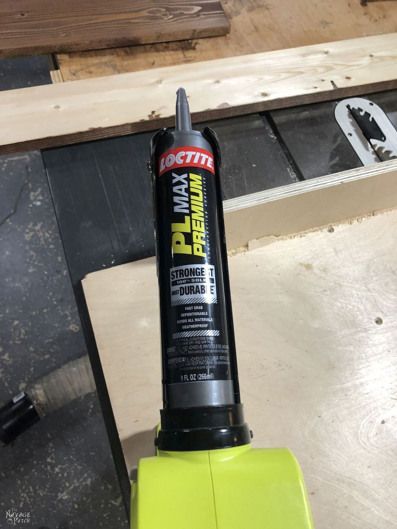 loctite pl max adhesive on a work bench
