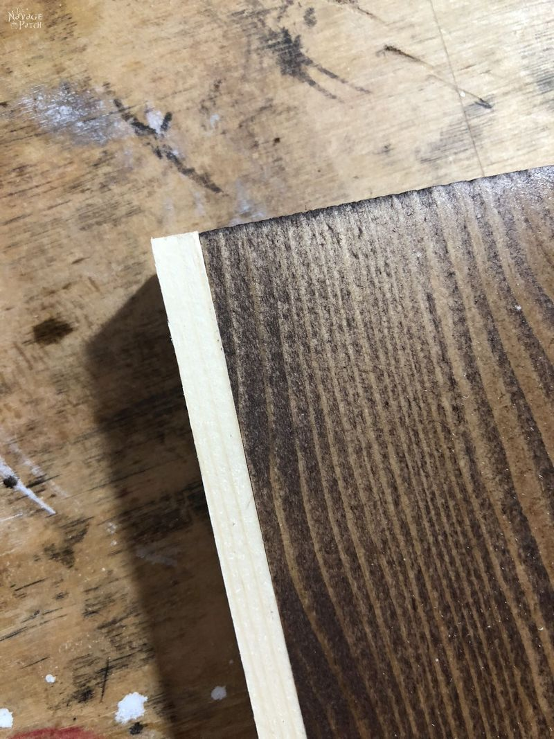 closeup of a pine strip glue to another piece of pine