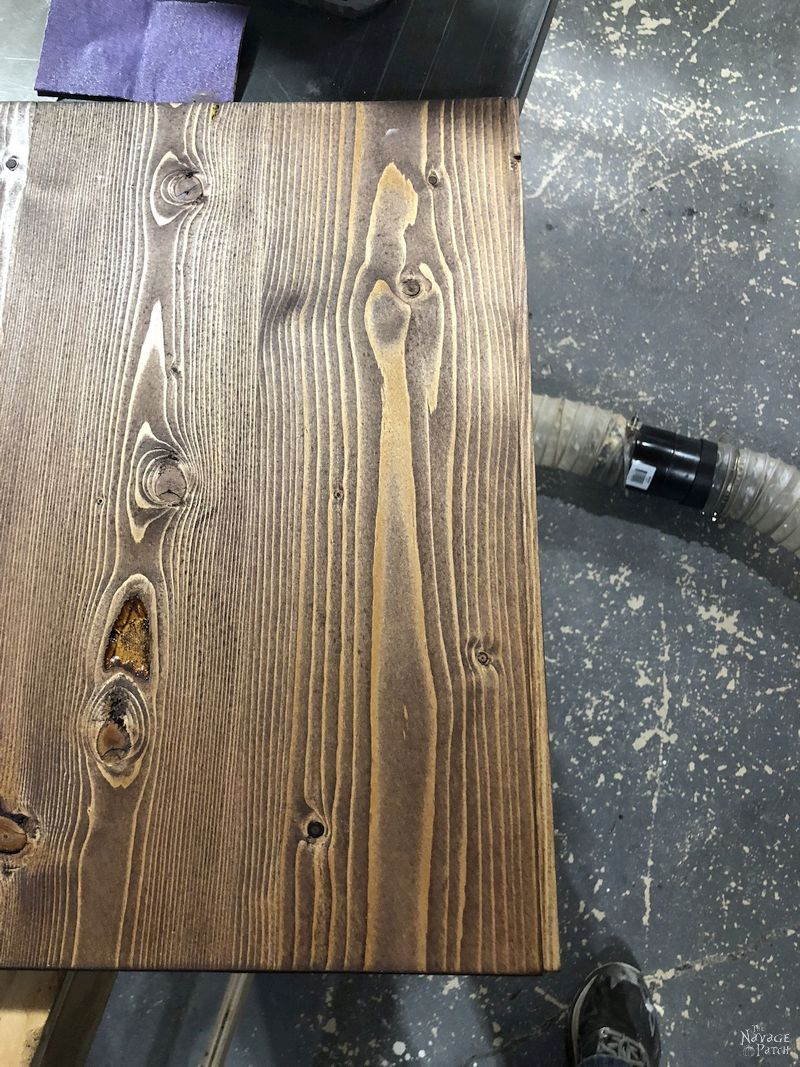 stained pine board