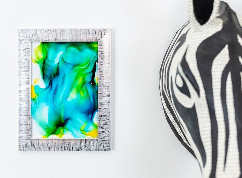 DIY Fired Alcohol Ink Art in a frame