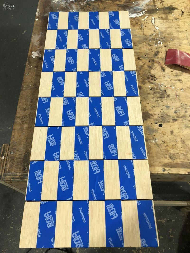 diy vertical chess board masked for staining