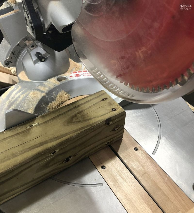 lumber on a miter saw