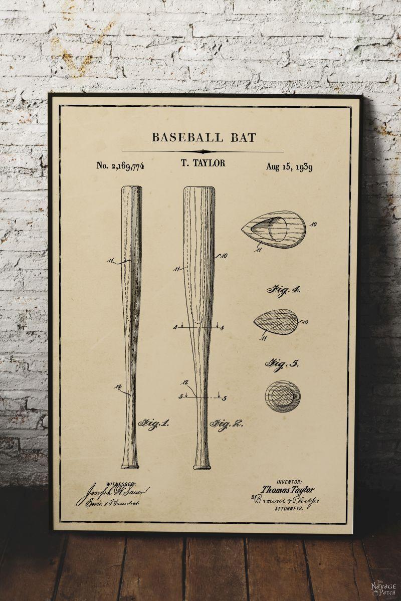 Free Printable Baseball Patent Art - Baseball Bat