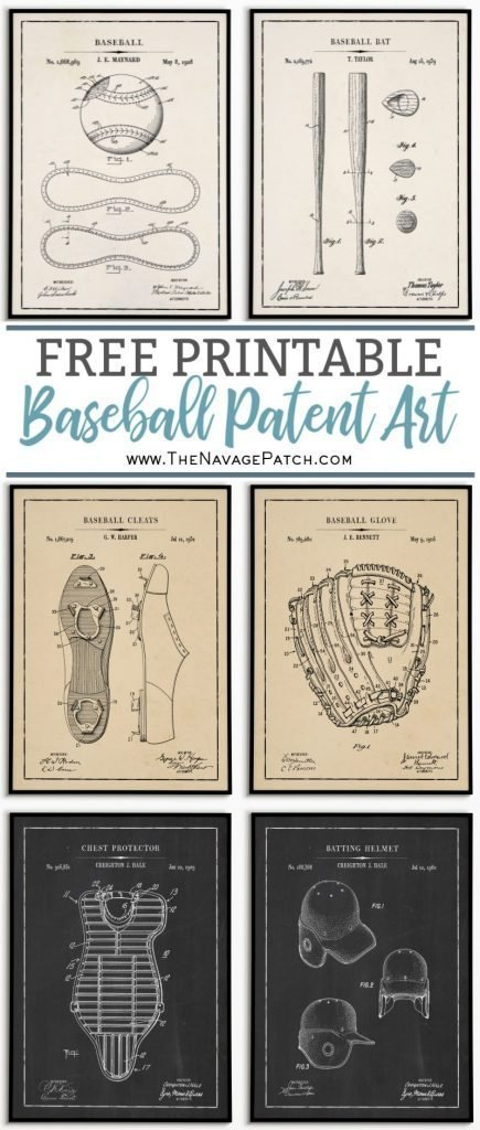 Free Printable Baseball Patent Art pin image