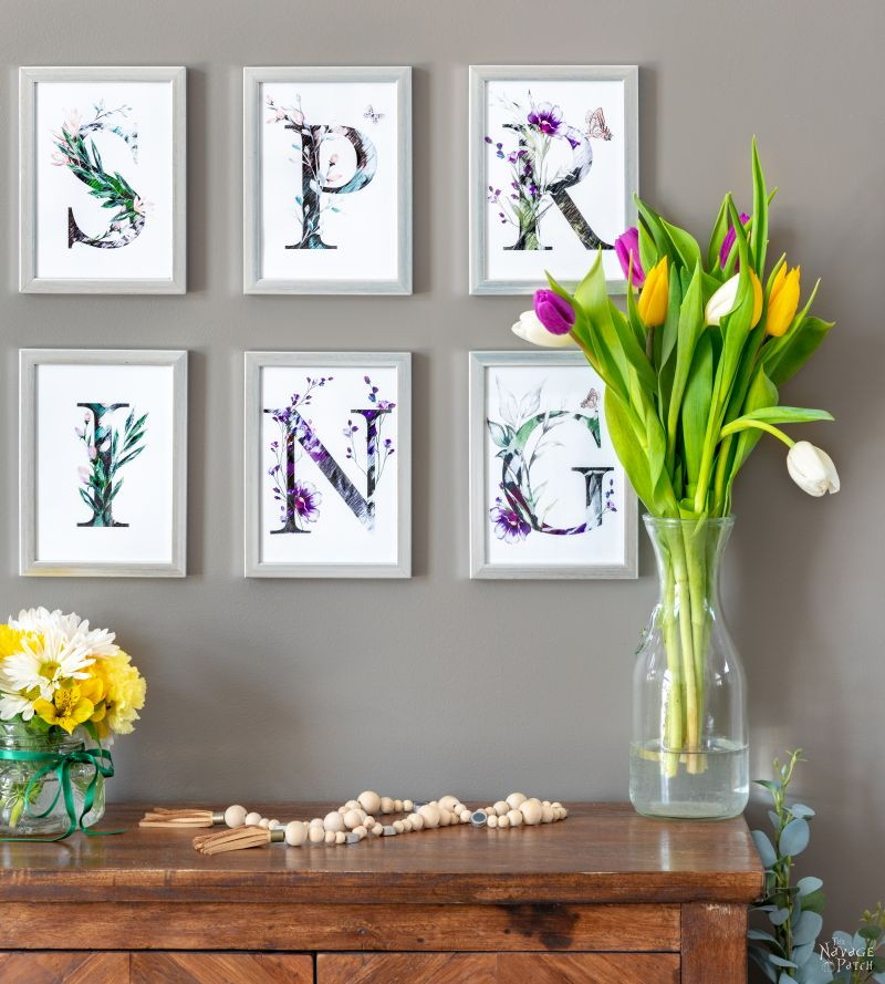 Free printable spring banner with tulips and spring flowers