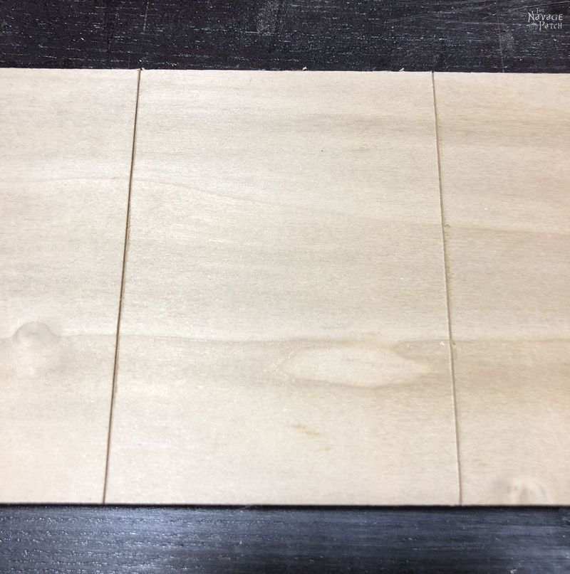 plywood with two grooves cut into it