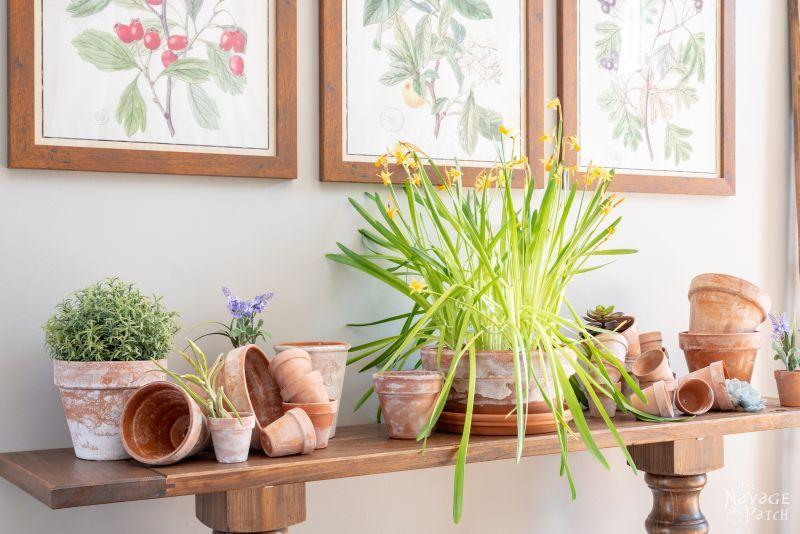 assorted faux aged terra cotta pots