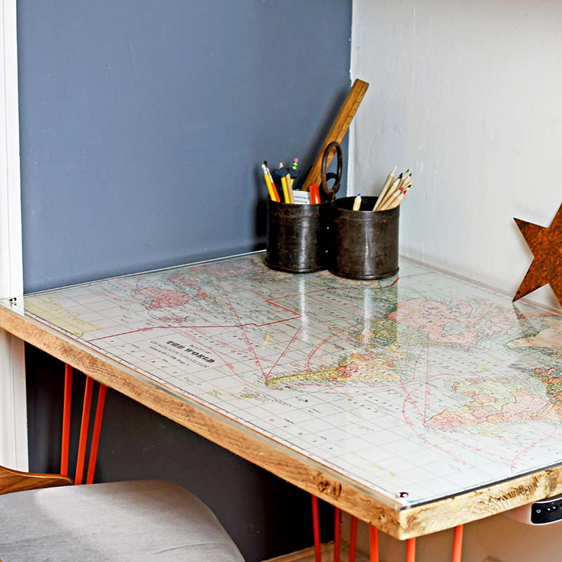 Vintage Map Desk by Pillar Box Blue