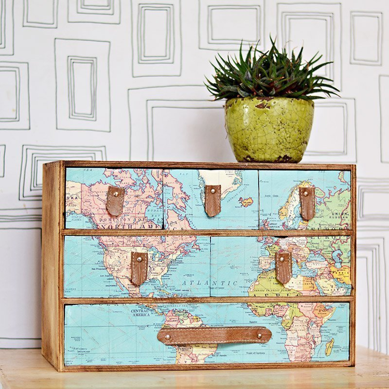Map Desk Organizer by Pillar Box Blue