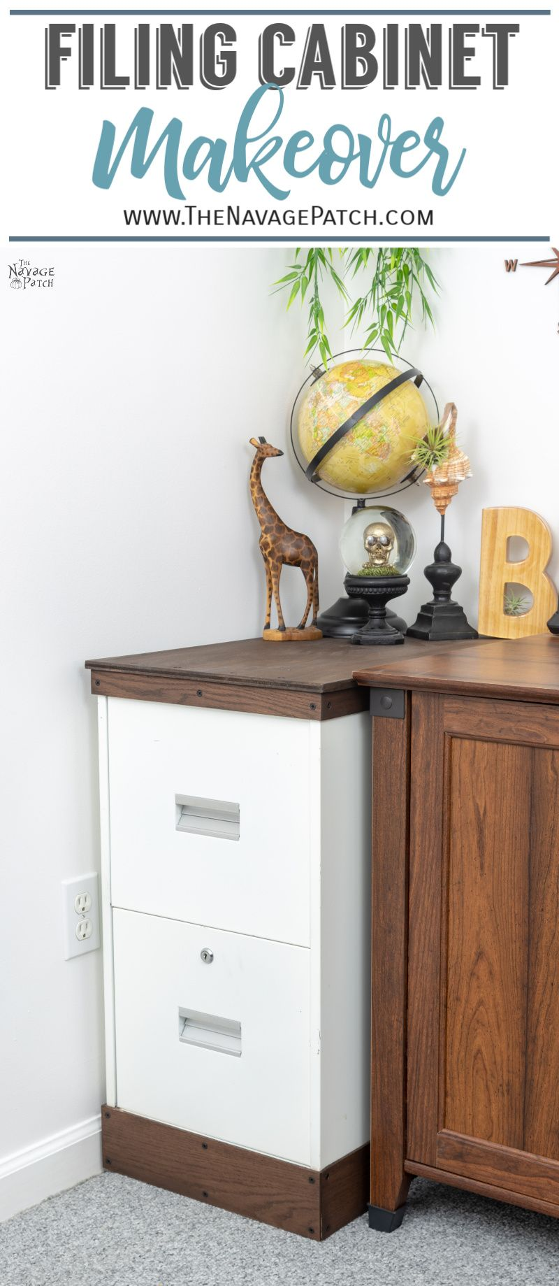 metal filing cabinet makeover pin image