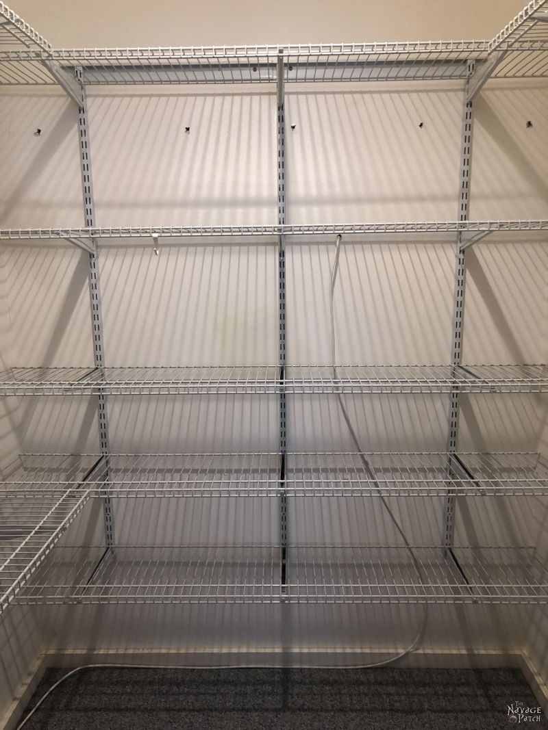 wire shelves in a small closet