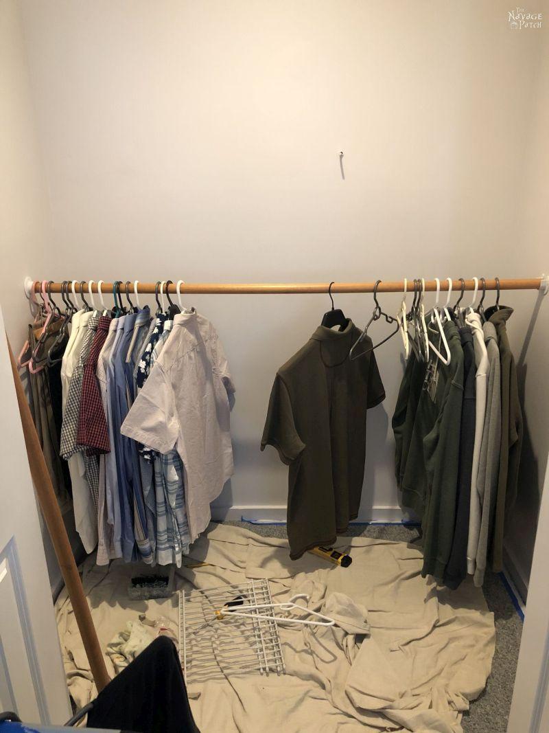shirts hanging in a closet