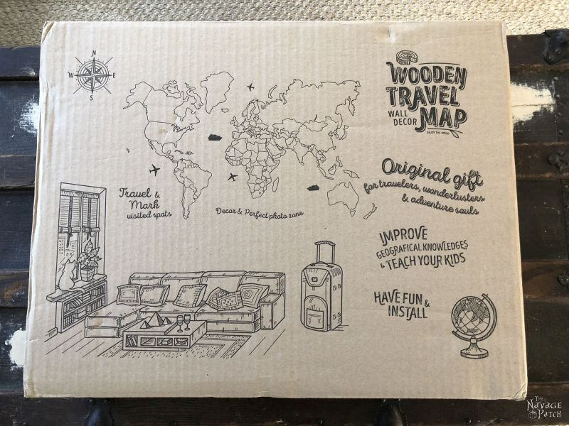 wooden world map box