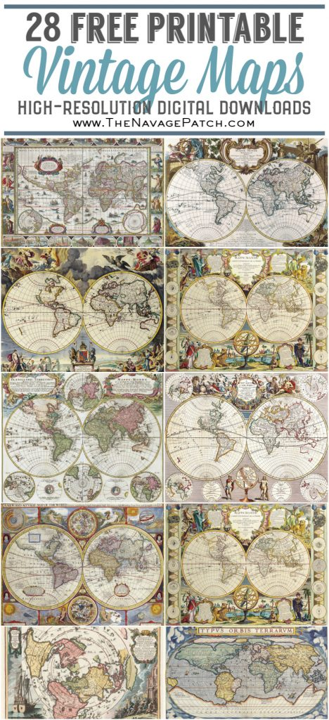 Wooden World Map Wall Art and Free Printable Vintage Maps pin image
