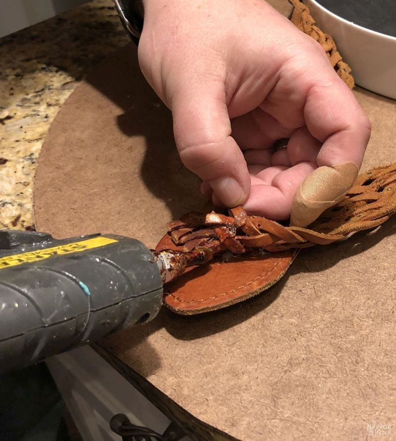 hot glue on a leather belt