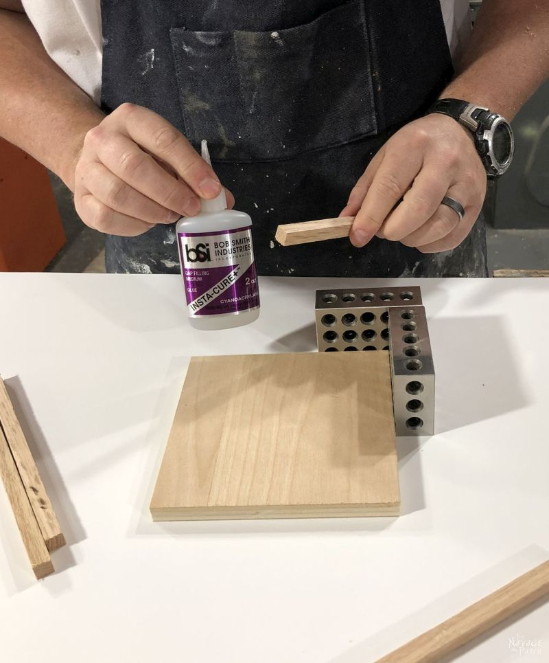 super glue, wood dowel and small square of plywood
