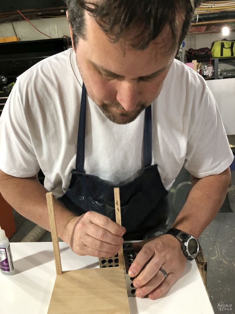 gluing a dowel to a wooden base