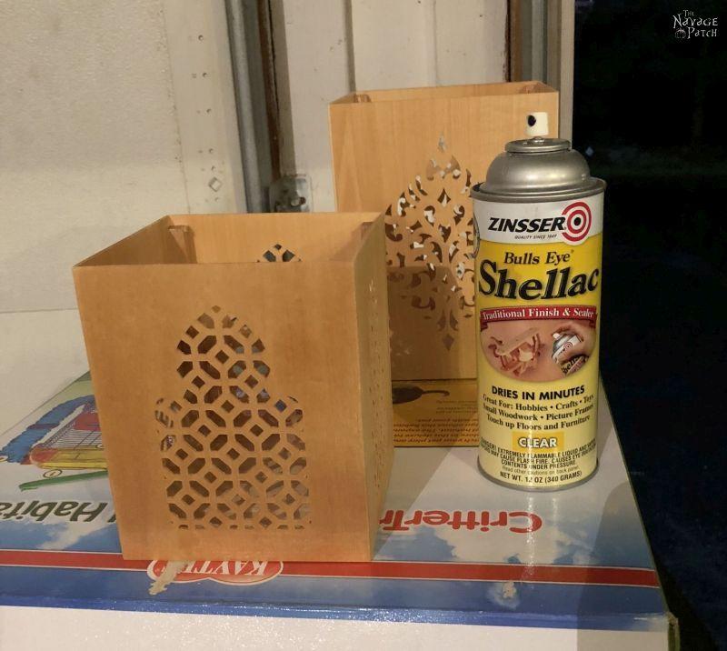 Shellac can next to DIY Moroccan Lanterns