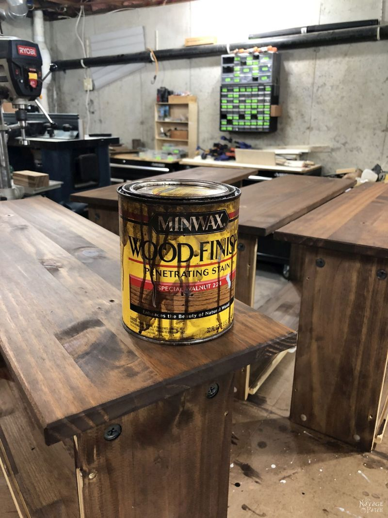 can of minwax special walnut stain on top of an ikea tarva drawer