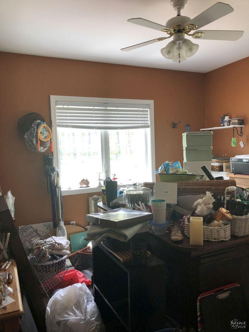 interior of a messy craft room