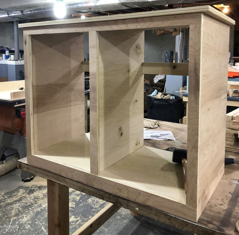 adding the face frame to a tilt out laundry hamper