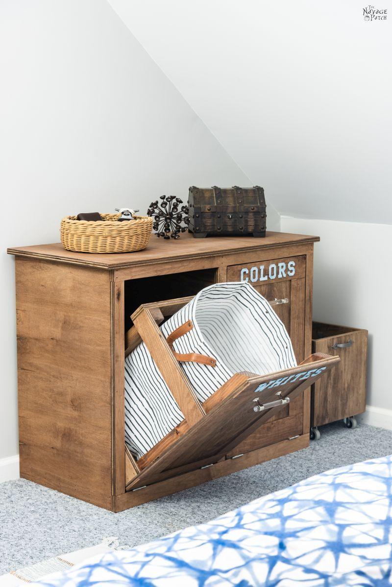 DIY Tilt-Out Laundry Basket | TheNavagePatch.com
