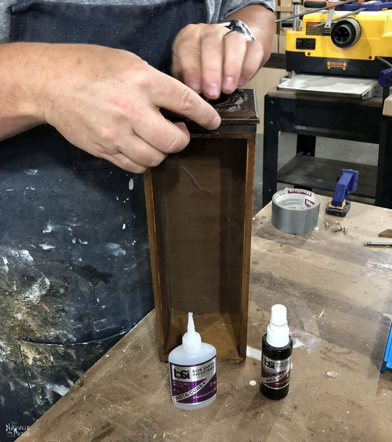 Gluing a part of old sewing machine drawers