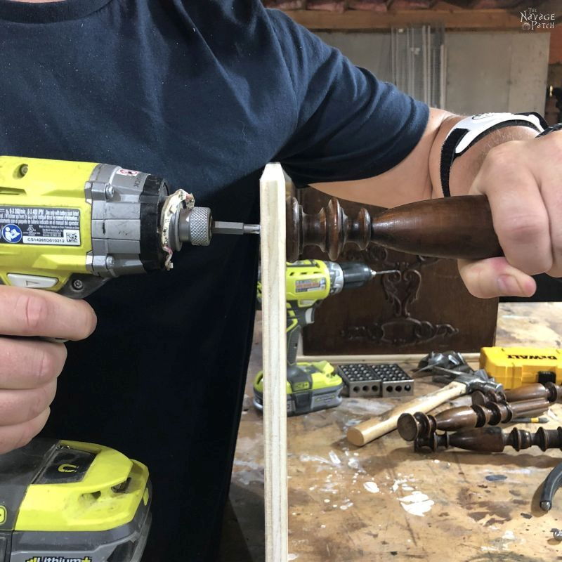 attaching a spindle to a piece of plywood