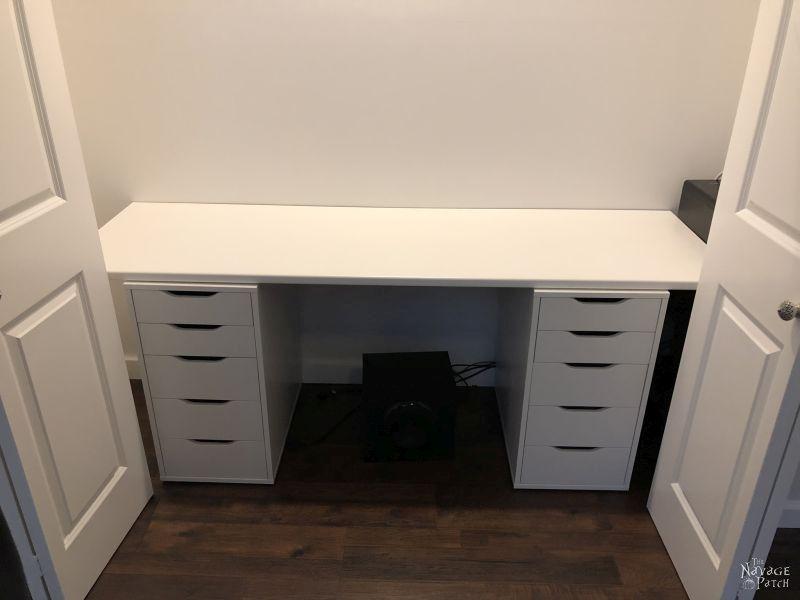 desk in a closet